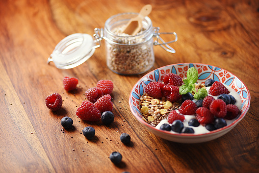 Granola「Delicious healthy breakfast with raspberries, blueberries, and a mint leaf」:スマホ壁紙(17)