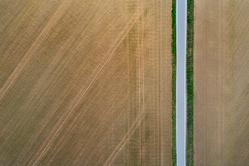 Single Lane Road「Road from above through agricultural fields」:スマホ壁紙(15)