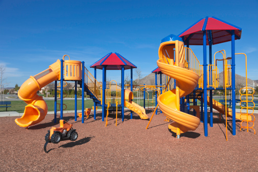 Public Park「Colorful kids outdoor playground equipment with slides」:スマホ壁紙(19)