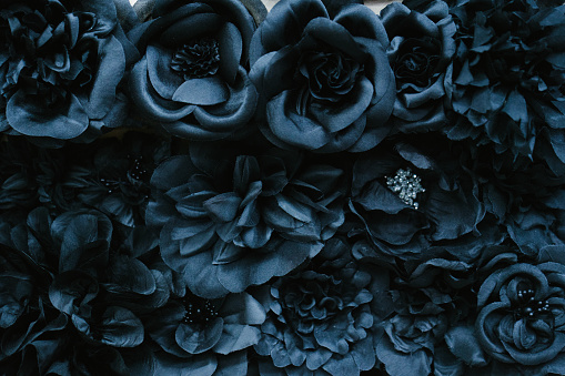 Black Color「Fabric flower close-up」:スマホ壁紙(12)