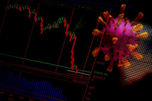 Responsibility「Financial Crash. Trading screen and Corona virus. Abstract image.」:スマホ壁紙(11)