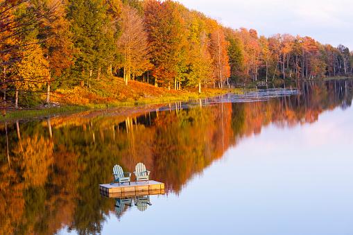 Pier「Adirondack chairs on lake」:スマホ壁紙(16)