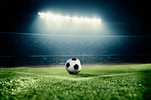 Stadium「Soccer ball in sports field in stadium at night」:スマホ壁紙(7)