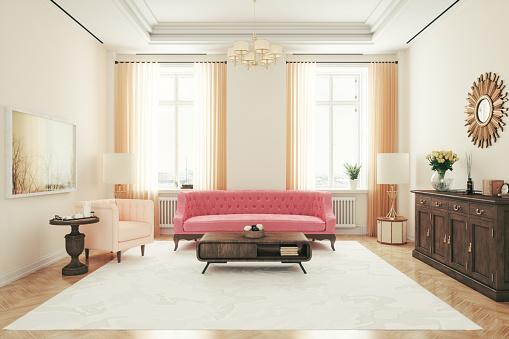 ピンク色「レトロリビングルームインテリアデザイン」:スマホ壁紙(3)