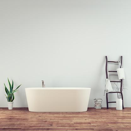 Digitally Generated Image「Empty bathroom interior」:スマホ壁紙(8)