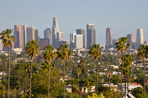 City Of Los Angeles「View of downtown Los Angeles from Silver Lake, Los Angeles, California, USA, May 2010」:スマホ壁紙(2)