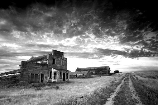 Ghost Town「Prairie Ghost Town in Black and White」:スマホ壁紙(3)