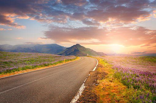 Volcanic Landscape「Road in Iceland in sunset light」:スマホ壁紙(2)