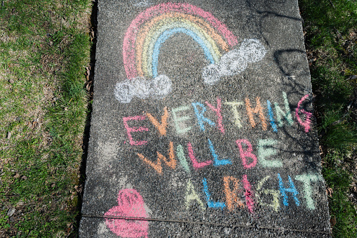 Positive Emotion「Hopeful message written on sidewalk in chalk during Covid 19 pandemic」:スマホ壁紙(8)