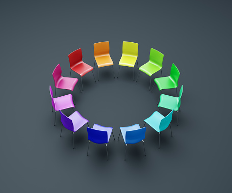 Discussion「Rainbow-colored chairs forming a circle」:スマホ壁紙(17)