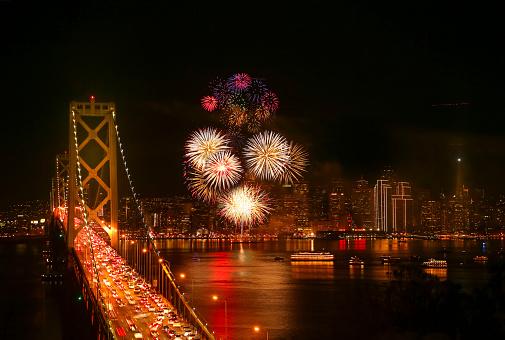 花火「大晦日の花火、サンフランシスコ」:スマホ壁紙(11)