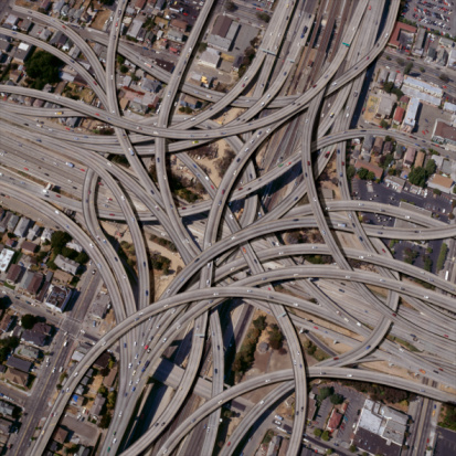 Aerial View「Exaggerated complex freeway interchanges」:スマホ壁紙(14)