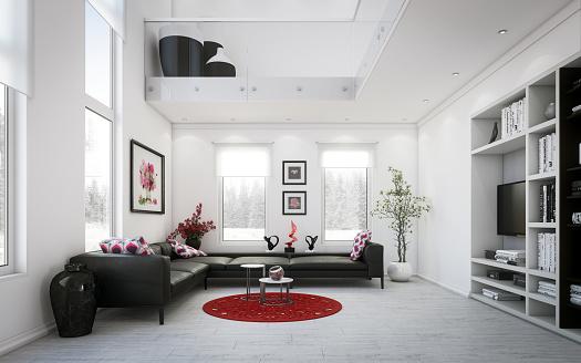 Black Color「Luxury Two-Level Living Room」:スマホ壁紙(12)