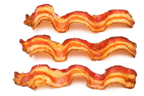 Bacon「Three bacon slices on white background」:スマホ壁紙(10)