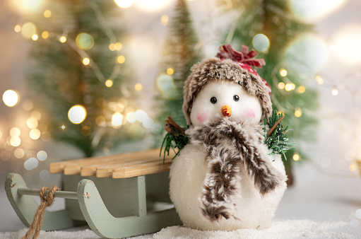 snowman「Toy snowman and winter holidays symbols and toys with shiny festive fairy lights」:スマホ壁紙(3)