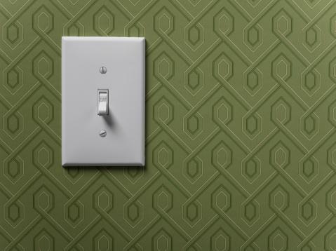 Light Switch「Light switch on green wallpapered wall, close-up」:スマホ壁紙(10)