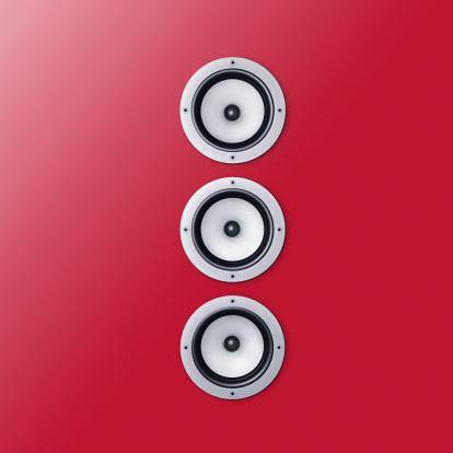 Audio Equipment「3 loudspeaker / speaker on a red wall」:スマホ壁紙(5)