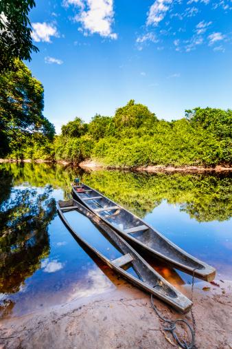 Amazon Rainforest「Indigenous canoes on a river in the Amazon state Venezuela」:スマホ壁紙(6)