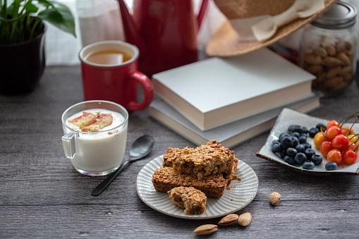 Granola「homemade baked granola bar: oats, cereal with honey」:スマホ壁紙(12)