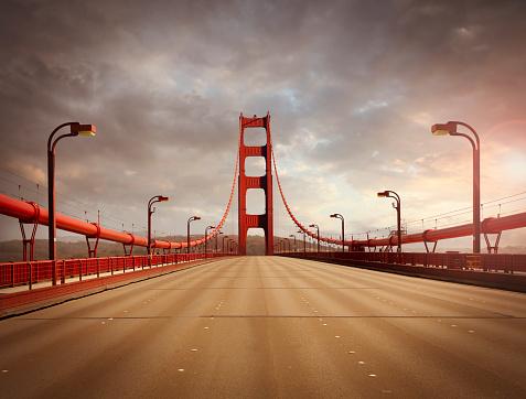 San Francisco - California「Empty Golden Gate Bridge」:スマホ壁紙(1)