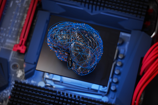 Deep Learning「Artificial Intelligence Concept, Human Brain Model With Blue Plexus Lines And Red Connection Dots On Motherboard.」:スマホ壁紙(9)