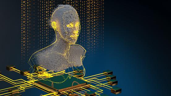 Neuroscience「Artificial Intelligence concept pixel AI Head with CPU」:スマホ壁紙(16)