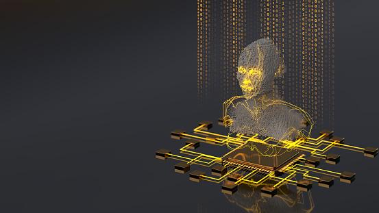 Neuroscience「Artificial Intelligence concept pixel AI Head with CPU」:スマホ壁紙(17)