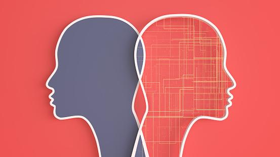 Neuroscience「Artificial Intelligence digital concept. 2 crossed heads on red background」:スマホ壁紙(9)
