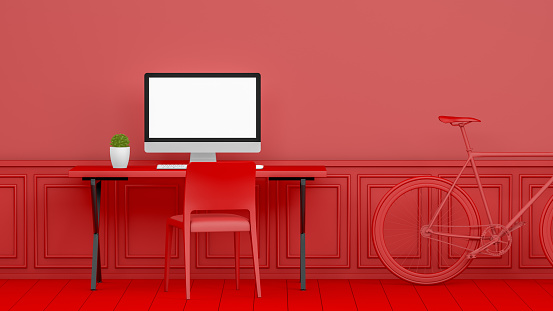 Blank Screen「3D Abstract Workplace with Blank Screen Monitor in modern interior, Christmas Concept, Red Background」:スマホ壁紙(14)