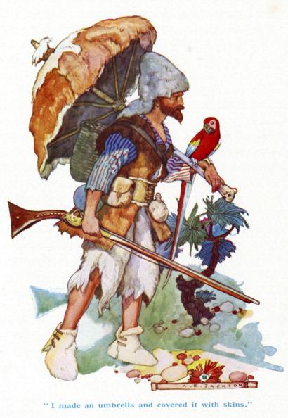 17th Century「'Robinson Crusoe' by Daniel Defoe. Crusoe carrying an umbrella made from animal skins.」:写真・画像(12)[壁紙.com]