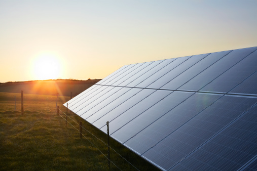 Solar Panel「Solar Panels in a field at sunrise.」:スマホ壁紙(17)