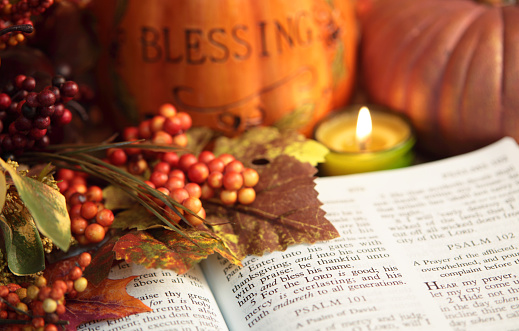 God「Religious: Thanksgiving Bible Scripture with pumpkin and berries」:スマホ壁紙(1)