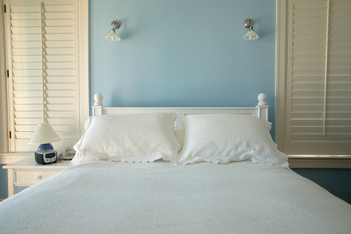Archival「Fresh linens on the bed of in a robin's-egg blue bedroom」:スマホ壁紙(12)