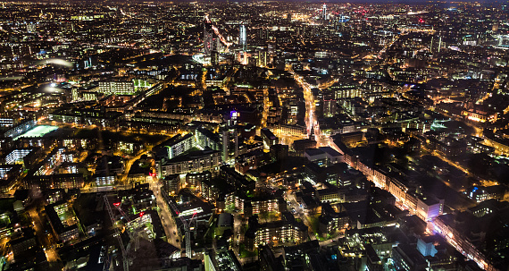 London Bridge - England「Aerial Panoramic view of London illuminated at night」:スマホ壁紙(3)