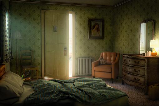 Motel「Sunshine through open door of motel room」:スマホ壁紙(0)