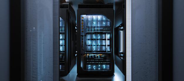 Data Center「Sliding doors revealing a large server room」:スマホ壁紙(7)