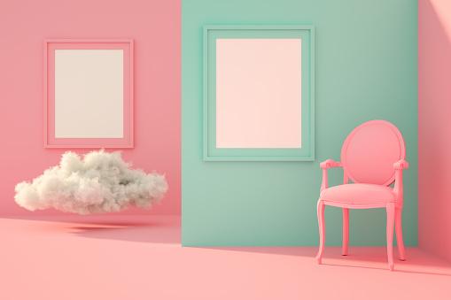 ピンク色「サンライトと雲とリビングルームで3D空のフレーム」:スマホ壁紙(12)
