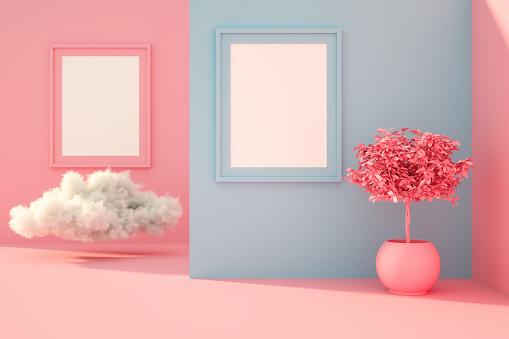 ピンク色「サンライトと雲とリビングルームで3D空のフレーム」:スマホ壁紙(8)