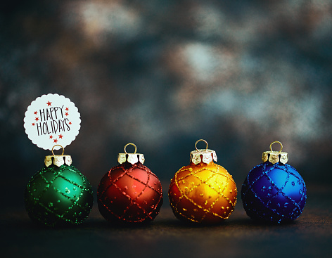 Calligraphy「Christmas ornament background with holiday message: Happy Holidays」:スマホ壁紙(16)