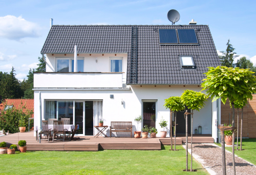 Sale「new house home view from garden with way - Einfamilienhaus」:スマホ壁紙(8)