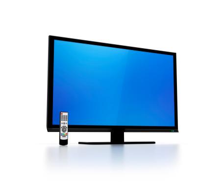 LED Light「Blue screen on flat HD tv with remote control」:スマホ壁紙(19)