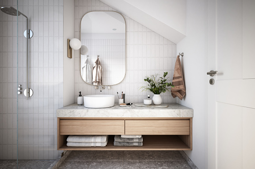 Household Fixture「Modern Bathroom Interior stock photo」:スマホ壁紙(15)