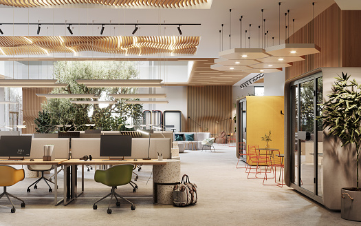 Corporate Business「3D image of an environmentally friendly coworking office space」:スマホ壁紙(15)