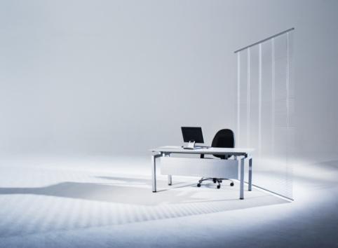 Desk「Flat screen monitor on office desk in empty studio」:スマホ壁紙(19)