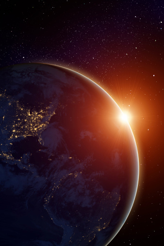 Star - Space「Rising sun behind planet」:スマホ壁紙(16)