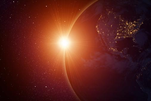 Outer Space「Rising sun behind planet」:スマホ壁紙(12)