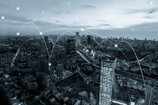 Data Center「Computer network connection modern city future internet technology」:スマホ壁紙(3)