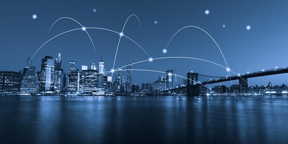 Internet of Things「Computer network connection modern city future internet technology」:スマホ壁紙(18)