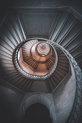 Cathedral「Awesome large spiral staircase seen from below inside one of the beautiful bell towers of the Basilica Notre Dame de Fourviere in Lyon French city」:スマホ壁紙(1)