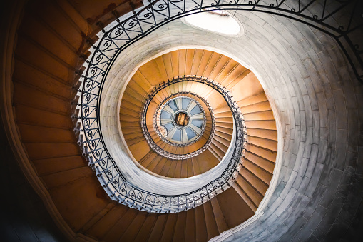 Auvergne-Rhône-Alpes「Awesome large spiral staircase seen from below inside one of the beautiful bell towers of the Basilica Notre Dame de Fourviere in Lyon French city」:スマホ壁紙(14)